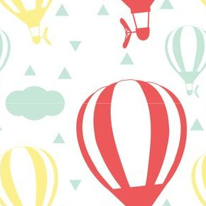 Balloons with Triangles in Red, Yellow, Mint Green and White