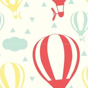 Balloons with Clouds in Red, Yellow, Mint Green and Cream