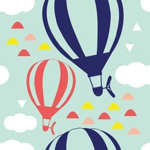 """6"""" Balloons with Clouds and Hills in Red, Blue and Yellow"""