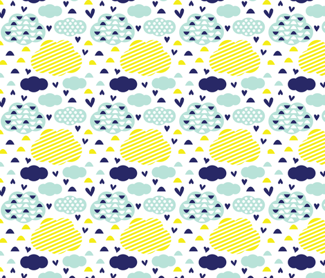 Quirkidoo-Clouds with Stripes, Hearts and Dots in White, Yellow and Mint fabric by chiqdesign on Spoonflower - custom fabric