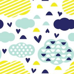 Quirkidoo-Clouds with Stripes, Hearts and Dots in White, Yellow and Mint