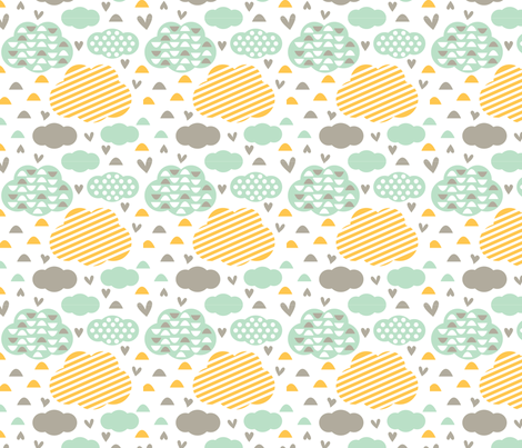 Quirkidoo-Clouds with Stripes, Hearts and Dots in White, Yellow Orange and  Mint fabric by chiqdesign on Spoonflower - custom fabric