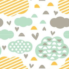 Quirkidoo-Clouds with Stripes, Hearts and Dots in White, Yellow Orange and  Mint
