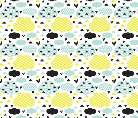 Quirkidoo-Clouds with Stripes, Hearts and Dots in, Black, Yellow and Mint Green fabric by chiqdesign on Spoonflower - custom fabric