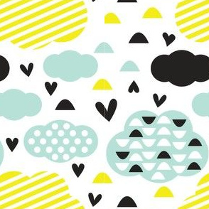 Quirkidoo-Clouds with Stripes, Hearts and Dots in, Black, Yellow and Mint Green