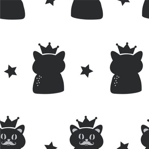 Meow-Cats with Crowns and Stars in Black and White