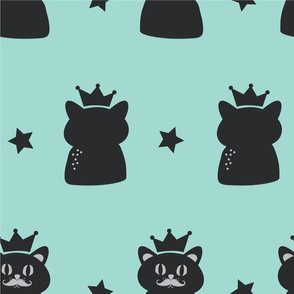 Meow-Cats with Crowns and Stars in Black and Turquoise