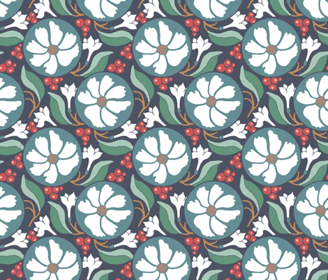 Retro Woodland Berry fabric by rootandbranchpaper on Spoonflower - custom fabric