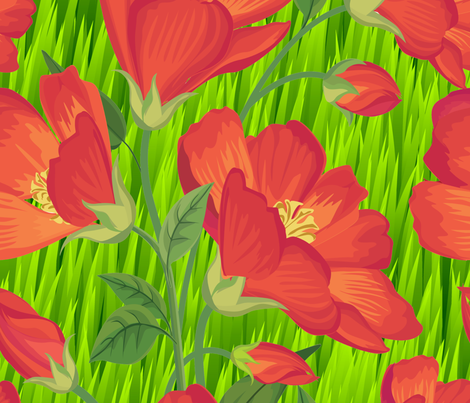 Orange Flowers on Green Grass Large Scale fabric by fabric_is_my_name on Spoonflower - custom fabric