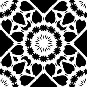 Large Floral Tile Mosaics Black on White