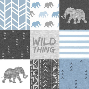 Wild Thing - Elephants - steel blue / grey