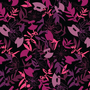 Tundraberry Fireweed and Ulu in Berry Black -  Large