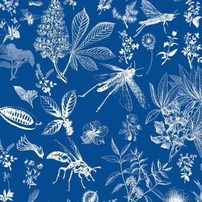 Insect garden invert chinoiserie white on cobalt
