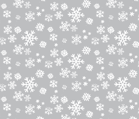 snowflakes(silver) fabric by fleabat on Spoonflower - custom fabric