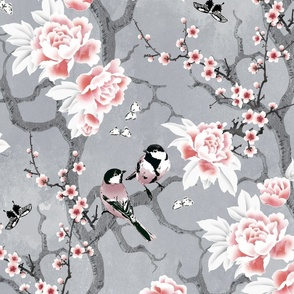 Chinoiserie birds in grey