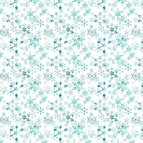 Snowflake Crystals on White Small
