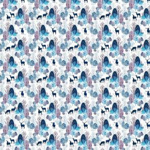 Steel blue forest deer on white extra small
