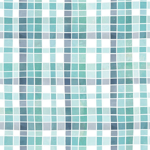 Ocean greens watercolour plaid