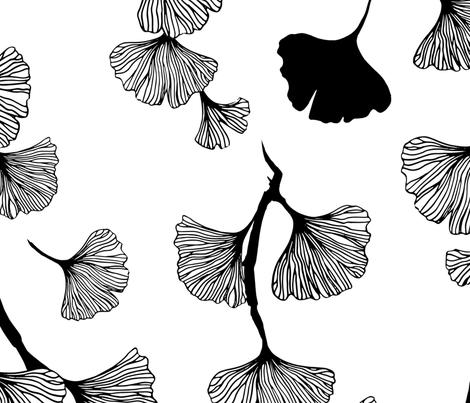 Ginkgo leaves black and white fabric by adenaj on Spoonflower - custom fabric