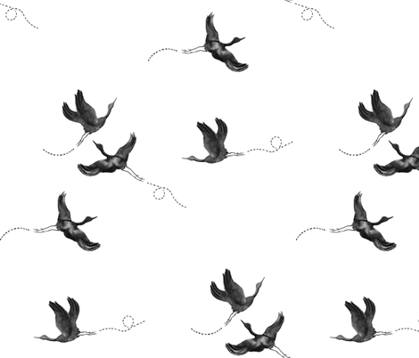 Black Watercolor Cranes Birds fabric by paperondesign on Spoonflower - custom fabric