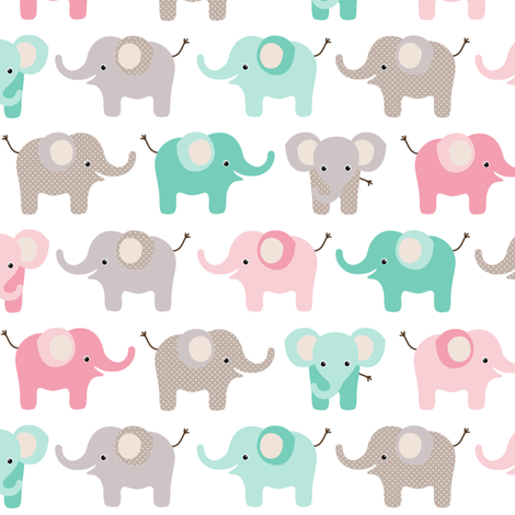 Happy elephants - pink and mint fabric by heleenvanbuul on Spoonflower - custom fabric