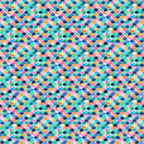 Extra Tiny Colorful Mermaid Scales fabric by micklyn on Spoonflower - custom fabric