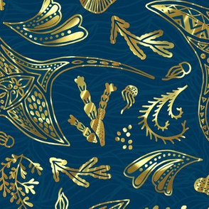Ocean in Gold and Midnight Cyan