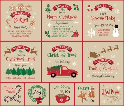 Farmhouse Christmas Panel fabric by malibu_creative on Spoonflower - custom fabric