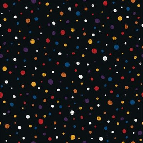 Dots in multicolor on black - red, yellow, white, orange, purple, blue
