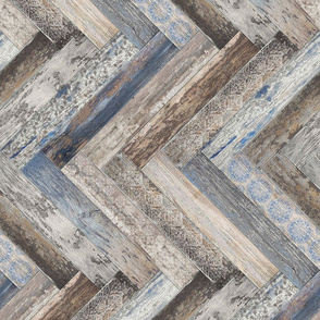 Vintage Wood Chevron Tiles Herringbone Capri Blue horizontal