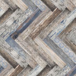 Vintage Wood Chevron Tiles Herringbone Capri Blue horizontal