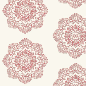 chambray red medallion on ivory cream