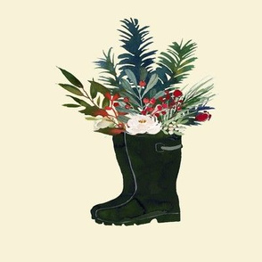Holiday Rain Boots Bouquet // Cream