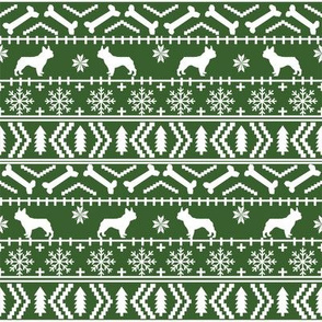 french bulldog fair isle fabric // frenchie dog fabric, dog fabric, dog christmas fabric, christmas fabric, french bulldog fabric, cute french bulldog fabric, french bulldog christmas fabric, - green