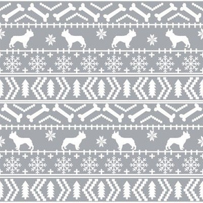 french bulldog fair isle fabric // frenchie dog fabric, dog fabric, dog christmas fabric, christmas fabric, french bulldog fabric, cute french bulldog fabric, french bulldog christmas fabric, - grey