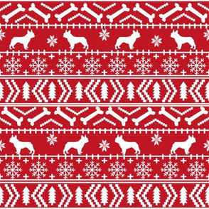 french bulldog fair isle fabric // frenchie dog fabric, dog fabric, dog christmas fabric, christmas fabric, french bulldog fabric, cute french bulldog fabric, french bulldog christmas fabric, - red