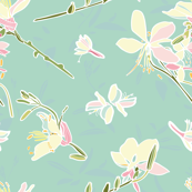 Turquoise vector repeat pattern with white & pink lillies.