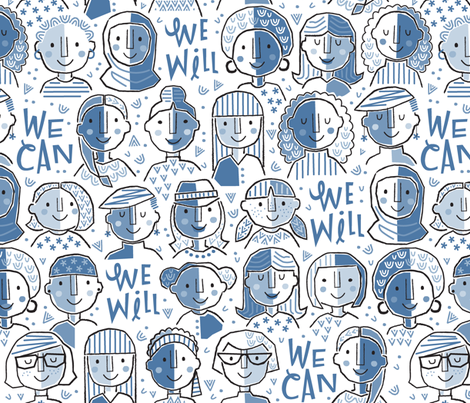 We Can We Will Blue - Large Scale fabric by gitchyville_stitches on Spoonflower - custom fabric