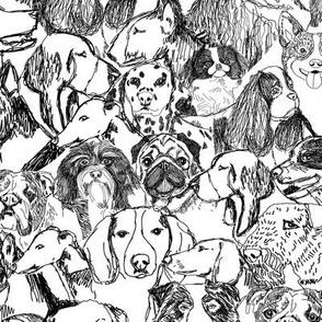 Dog portraits fabric // dog wallpaper, dog gift wrap, dog breeds fabric, hand-drawn dogs, dog illustration, cute dog fabric, dogs design - black and white