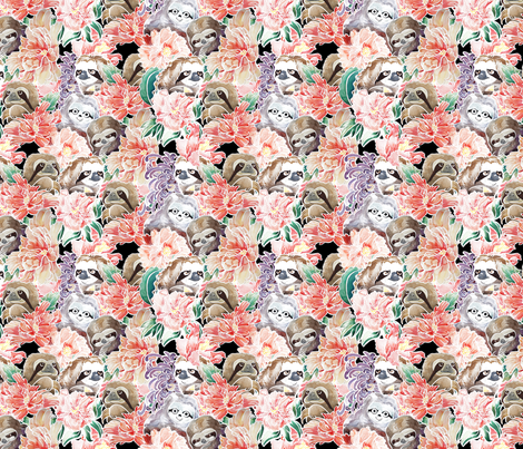 Because Sloths Watercolor fabric by huebucket on Spoonflower - custom fabric