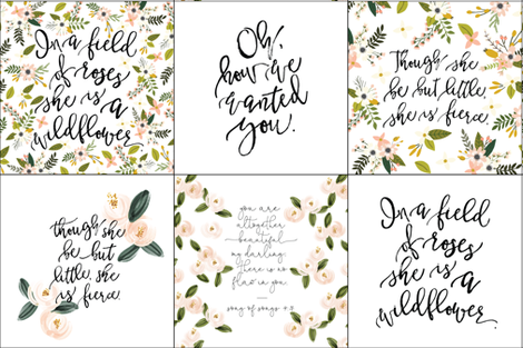 6 loveys: mix of girly quotes fabric by ivieclothco on Spoonflower - custom fabric