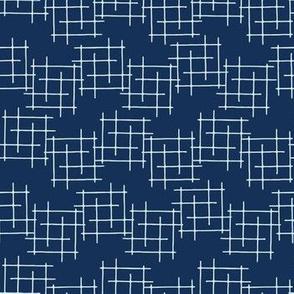 Indigo Blue Japanese Style Criss Cross Lines