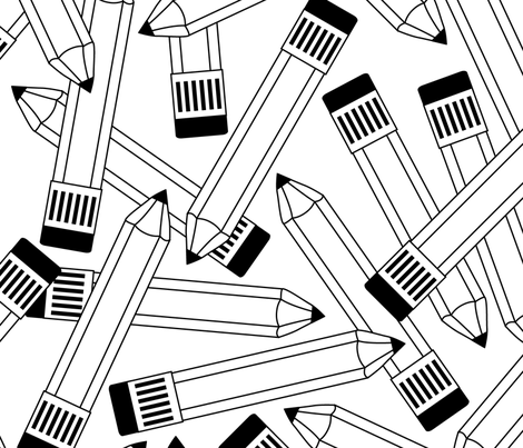 black and white pencils fabric by lilcubby on Spoonflower - custom fabric
