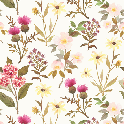 Wildflower off white fabric by mintpeony on Spoonflower - custom fabric