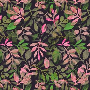 pink and green leaves on dark background
