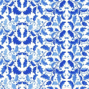 Traditional Blue Portugal Azulejo Ornament, Vector Seamless Pattern with Leaves, Curls and Stylized Foliage.