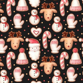 christmas gingerbread with confetti on a dark background