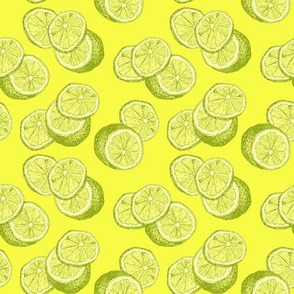 Lemon Sketch Repeat in Yellow Lime Fresh Color