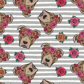 pit bulls - floral crowns - grey stripes