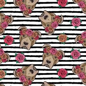 pit bulls - floral crowns - black stripes